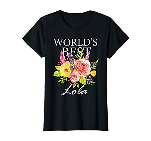 Womens World's Best Lola Filipino Grandma Mother's Day Flower T-Shirt