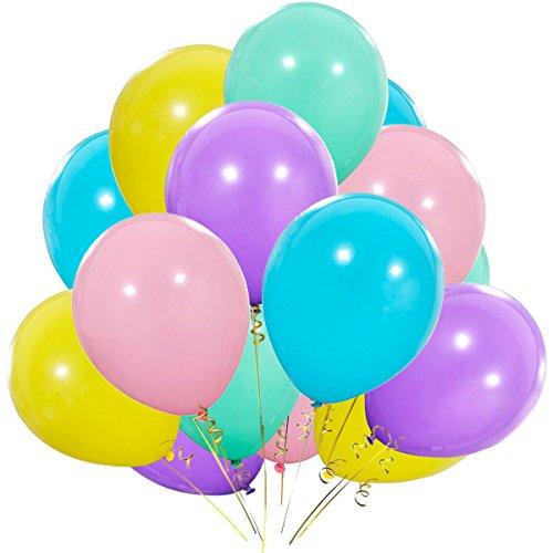 Pastel Rainbow Balloons - 12 Inch Purple Yellow Aqua Blue Light Pink Latex Balloon for 1st Unicorn Birthday Party Decorations, Ice Cream Baby Shower, Bridal Shower 100pcs