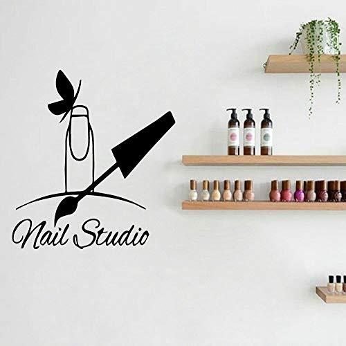 Esmalte de uñas, calcomanía de pared, salón de belleza, manicura, estudio, decoración de interiores, vinilo, pegatina artística, papel tapiz autoadhesivo para mujer