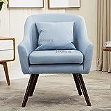 Home Decoration モダンミッドセンチュリースタイルアームチェアソファチェアリビングルームの家具シングルソファデザイン木製の脚ベッドアームアームチェアアクセントチェア (Color : Light blue)