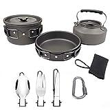 Cocina Portátil para Acampar Al Aire Libre, Adecuada para Caminatas, Pesca Al Aire Libre Y Utensilios De Cocina,Negro