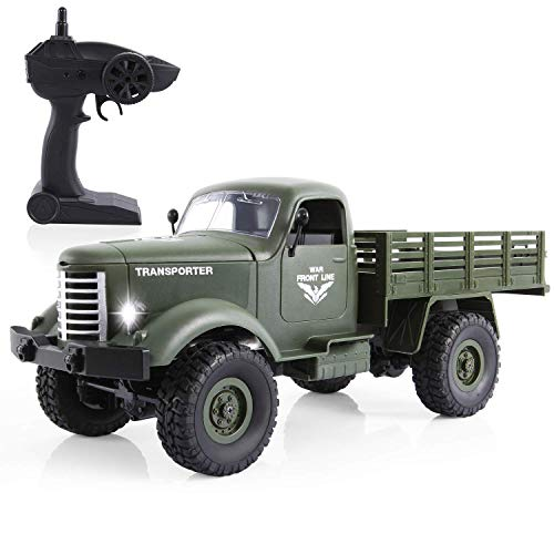 RC Military Truck -Flyglobal 1:16 4WD Off-Road Crawler Army Car, Radio Control RC Truck- 2.4Ghz Remote Control Toy RTR Car Vehicle with Rechargeable Batteries Great Gift for Kids Boys Adults Green