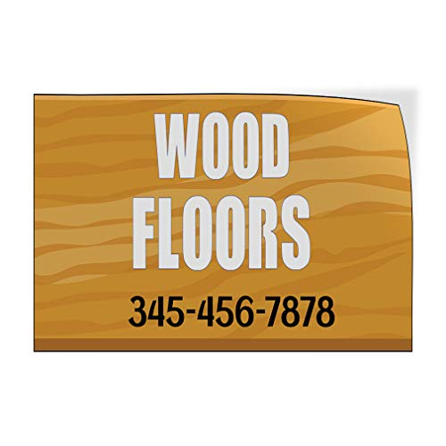 Custom Door Decals Vinyl Stickers Multiple Sizes Wood Floors Phone Number Business Wood Floor Signs Outdoor Luggage /& Bumper Stickers for Cars Brown 14X10Inches Set of 10
