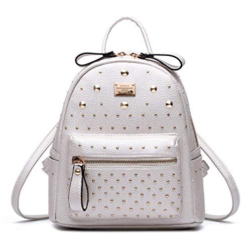 qwerasdf señoras mini mochila de cuero multibolsillo mochila moda viaje bolsa chica mochila 30 pulgadas (blanco, 9,8 x 5,5 x 11 pulgadas)