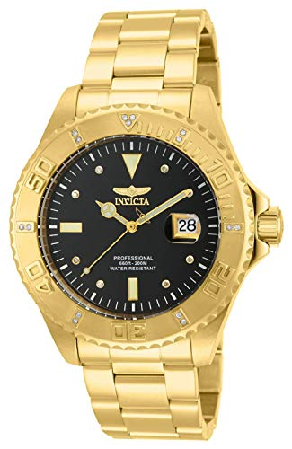 """Invicta Men's 15286""""Pro Diver"""" 18k Yellow Gold Ion-Plated Stainless Steel and Diamond Accent Watch"""