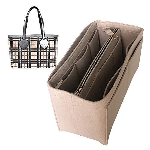 Organizador reversible gigante mediano, bolsa de fieltro para insertar bolsa de fieltro, protector para organizar el bolso (estilo B), gris claro (Gris) - JKS-B-349-Light-Grey
