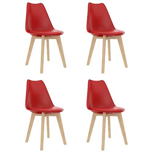 vidaXL 4X Sedie da Pranzo Seggiole da Cucina Sedili Sedie per Sala da Pranzo Sedute Mobili Arredo Arredamento da Pranzo Rosse in Plastica
