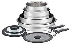 Tefal Ingenio by Jamie Oliver 9-Teiliges Set L95691 | Edelstahl | Antihaft-Versiegelung | Für Schonendes Braten Mit Nur Wenig Öl | Vielseitig | Platzsparend | Backofenfest | Induktionsgeeignet
