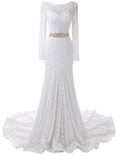 SOLOVEDRESS Women's Long Sleeves Lace Wedding Dress Mermaid Bridal Prom Evening Gown (US 14,White) (Apparel)