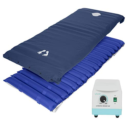 """Vive Alternating Pressure Mattress 5"""" - Air Topper Pad for Bed Sore, Ulcer Prevention, Bedridden Treatment - Inflatable, Quiet Alternative Cover - Fits Hospital Bed - Includes Electric Pump System"""