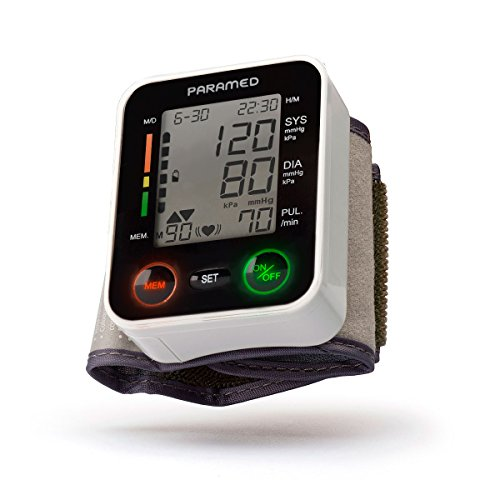 Automatic Wrist Blood Pressure Monitor by Paramed: Blood-Pressure Kit of Bp Cuff + 2AAA and Carrying case - Irregular Heartbeat Detector & 90 Readings Memory Function & Large LCD Display
