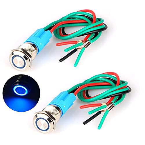 GUUZI 2pcs Interruptor de Botón Pulsador Momentáneo Impermeable Acero Inoxidable 220V-230V/3A Interruptor de LED Iluminado con Enchufe de Cable Adecuado para Orificio de Montaje de 12mm(Azul)