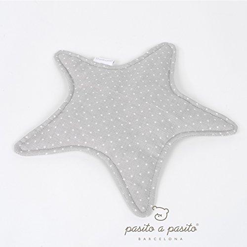 Pasito a Pasito - Doudou estrella en lino gris con topito, suave tejido