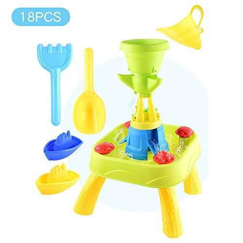 Strandtafel Voor Kinderen, Speelzand Zwembadset, Binnentuin Kan Grote 18-Delige Set Waterspeelzandspeelgoed Spelen, Educatief Speelgoed Voor Kinderen