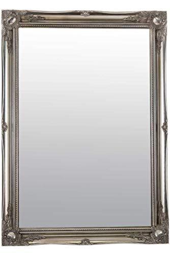 MirrorOutlet Espejo de Pared Grande de Color Plateado Envejecido, diseño de Ornamento, 106 cm x 76 cm