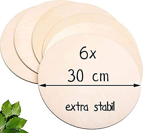 Prinzental® 6 Runde Holzscheiben 30 cm Durchmesser   Stabile 5 mm Premium Holzplatten zum Basteln   Ideal für Brandmalerei, Bemalen und DIY   Mit Bastelanleitung für Türschilder   Holzscheiben groß