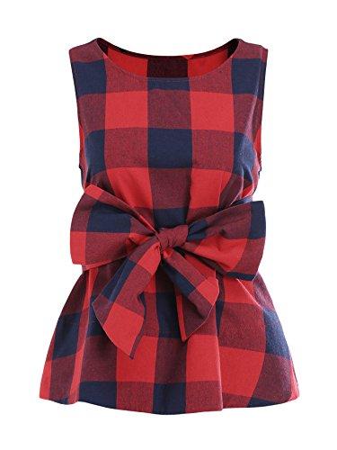 WDIRARA Women's Sleeveless Belted Checkered Shell Top Blouse Red XL
