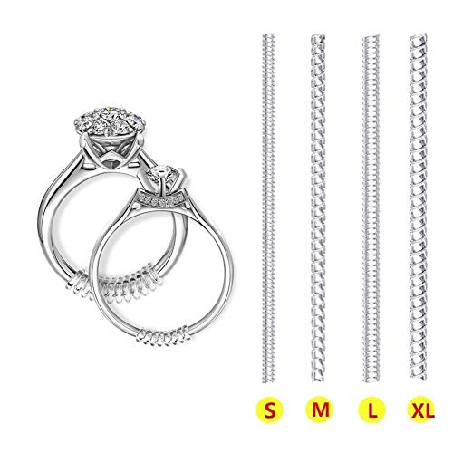 Ring Size Adjuster voor Losse Ringen - Onzichtbare Transparante Siliconen Ring Guard Clip Sieraden Tightener Resizer - Fit Bijna Elke Ring - 8 Pack, 4 Maten