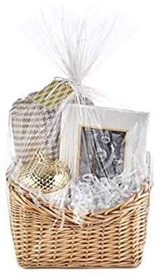 Hallmark Gift Basket Wrap Kit with Cellophane Bag, Filler, Cord and Gift Tag for Easter Baskets, Welcome Gifts, Weddings, Baby Showers and More