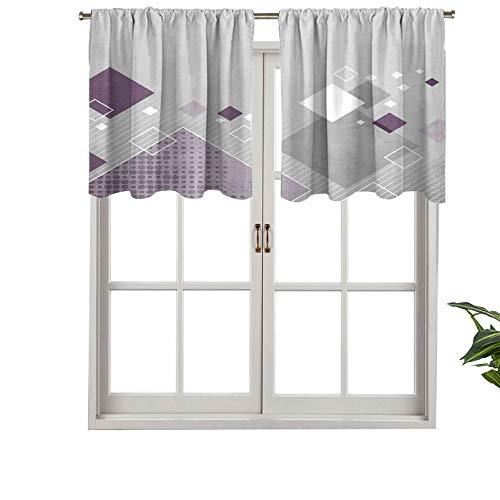 Hiiiman Cenefas de cortina con bolsillo para barra, composición geométrica con cuadrados de diferentes colores a rayas, juego de 2, paneles de cortina cortos de 137 x 61 cm para ventana de cocina