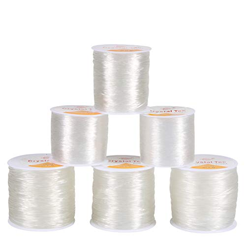 6 Pack Assorted Size Elastic String, Stretchy Bracelet String Crystal String Bead Cord for Bracelet, Beading and Jewelry Making-0.5mm, 0.6mm, 0.7mm, 0.8mm, 1mm, 1.5mm