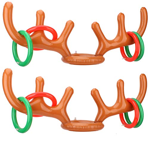 HANTAJANSS 2 Pack Ring Toss Game Reindeer Antler Inflatable Christmas Toys Summer 2 or More Players Interaction Party Beach Pool Kids Game
