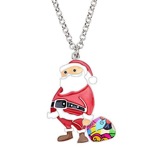 CHIY-GBC Navidad Santa Claus Bolsa de Regalo Collar Colgante Cadena Gargantilla bisutería para Mujeres niñas Accesorios 50 + 7 cm