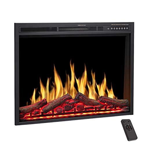 R.W.FLAME Electric Fireplace Insert 34Inch with Adjuatble Flame Colors, Log Colors, Flame Speed and Brightness, Remote Control, 750W/1500W