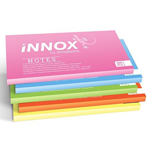 Elektrostatisch selbstklebende Haftnotiz klein | Für alle Oberflächen - Innovative Sticky Notes ohne Klebstoff von INNOX® | Ideen visualisieren, verschieben, strukturieren | Bunt, 10x7cm, 500 Blatt
