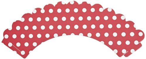 "Hoffmaster 611130 Polka Dot Cupcake Wrapper, 9"" Length x 2-1/4"" Width, Red/White Dots, Reversible (Case of 250)"