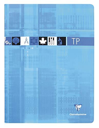 Clairefontaine 3327C - Un cahier piqué de travaux pratiques 80 pages 24x32 cm grands carreaux 90 g et unies 125 g, couverture carte pelliculée couleur aléatoire