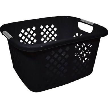 Home Logic 1.5-Bu Laundry Basket, Black Plastic, 21.99  x 17.88  x 11.82  (Pack 1)