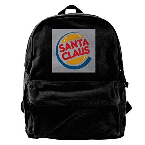 Backpack Santa Claus Burger King Logo Mochila De Lona Navideña Regalo con Estampado De Anime Regalo De Cumpleaños para Estudiantes Bolso De Hombro Único para Adultos Viaje Durader