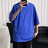 XYZMDJ Camiseta lisa para hombre, estilo de vida, holgada, informal, con camisetas, ropa de calle (color: B, talla: XXXXXL)