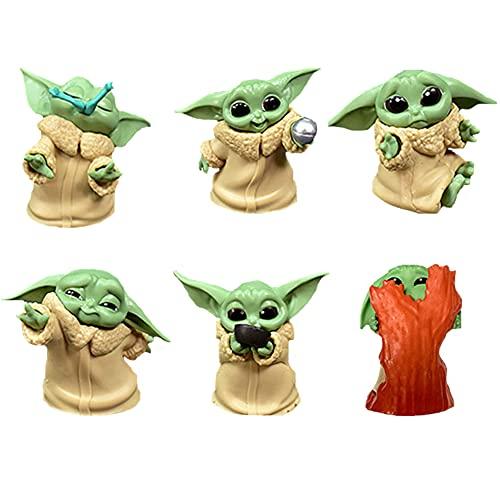 BESTZY Baby Yoda Toy 6 Figuras de Peluche para Bebé Baby Yoda Doll Figure Modelo de Acción para la Oficina o Los Niños(B)