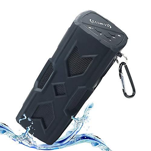 HUSAN Bluetooth Lautsprecher, Wasserdichter tragbarer Lautsprecher Bass Subwoofer Mit 1800mAh Power Bank / Mic / NFC Funktion für den Außenbereich