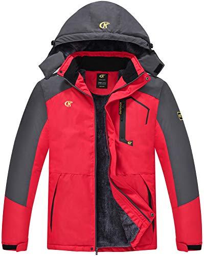 QPNGRP Mens Windproof Snowboarding Jacket Waterproof Winter Snow Ski Jacket Red XX-Large