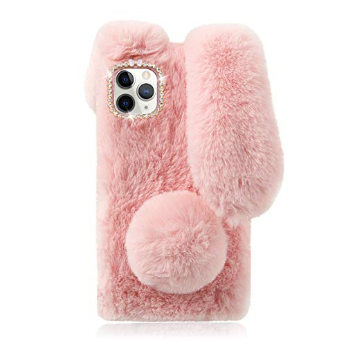 Fluffy Bunny Plush Phone Cover Pink for Apple iPhone 11 Pro, Cute Warm Furry Fur Stuff Animal Rabbit Phone Case for Girls, Fashion Woman Protective Cover for iPhone 11 Pro