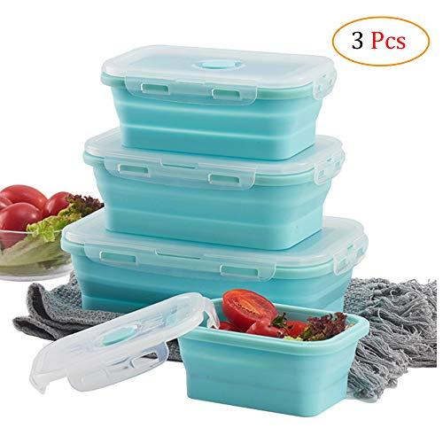 Schneespitze 3 Stück Frischhaltedosen,Faltbare Frischhalteboxen,Silikon Zusammenklappbare Lunch Bento Box für Mikrowellen, Kühlschränke