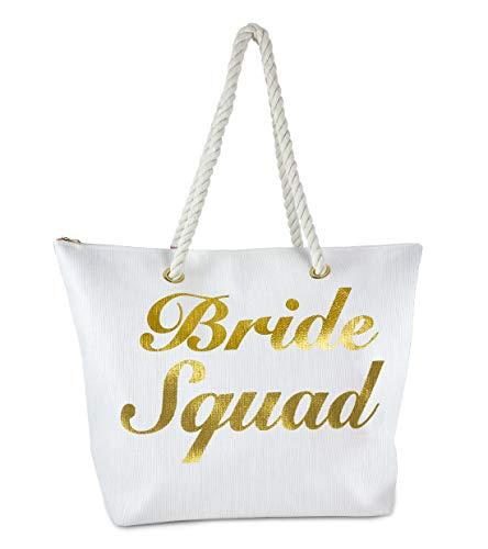Funky Junque Damen Strandtasche mit Spruch, große Stroh-Reisetasche, Weiá (Bride Squad - Weiß), Einheitsgröße