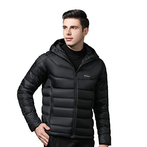 Men's Lightweight Down Jacket Men's Packable Winter Down Coat Puffer Jacket 95% Goose Down Fill Power 800 (Black, S)