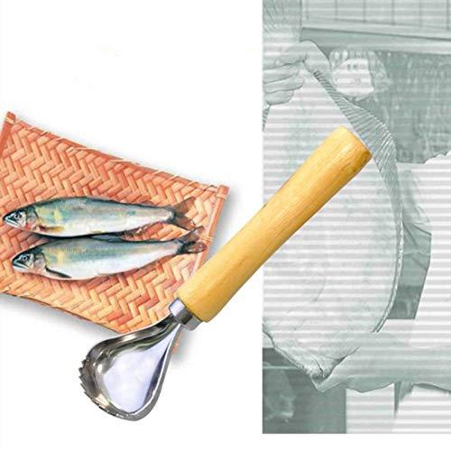 SHT Las PC 1 Acero Acero Pescado raspado Escala máquina de Afeitar con Mango de Madera Herramienta de la Cocina pelador Mariscos Pescado Cuchillo de Limpieza de Pescado raspador