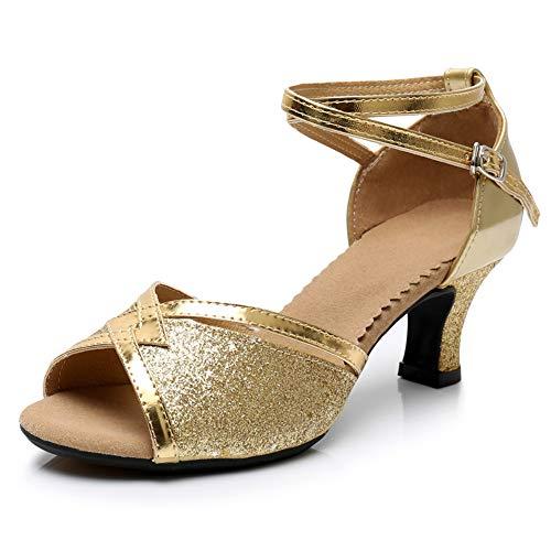 HIPPOSEUS Zapatos de Baile Latino con Brillo para Mujer Sandalias de Baile de Salsa para Fiestas de salón de Baile,Oro,tacón Medio,40 EU