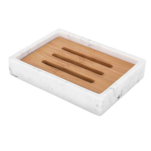 Luxspire Soap Dish Tray, Resin Soap Dish, Bamboo Soap Bar Holder Box for Shower Kitchen Sink, Double Layer Draining Soap Container Box, Wood Soap Case, Bathroom Marble Pattern Tray