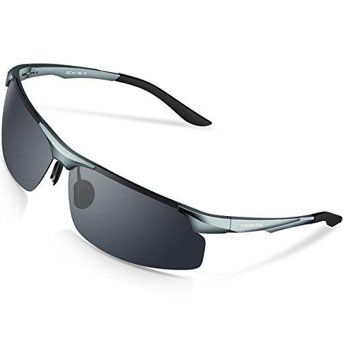 Gafas de sol deportivas M291 de Torege, polarizadas, con montura TR90 irrompible de aluminio magnesio, para hacer ciclismo, correr, pescar, jugar al golf, M291, Grey&Grey lens