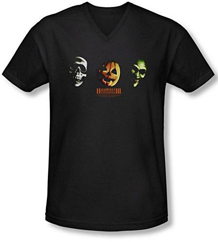 Halloween III - Halloween III - Männer Drei Masken V-Neck T-Shirt, XX-Large, Black