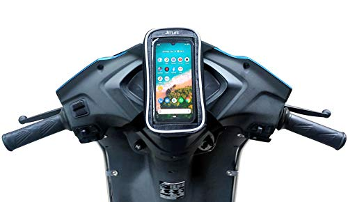 JETLIFE Mobile Holder Mount Pouch-Bag for Scooters Activa Scooty Bike   Hassle-Free-Ride (Grey)