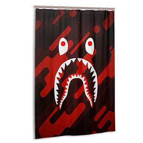 NA-1 Ba-pe Camo Blood Shark Face Waterproof Polyester Fabric Bathroom Curtains Set with Hooks Modern Bathroom Decor(48 x 72 inch)