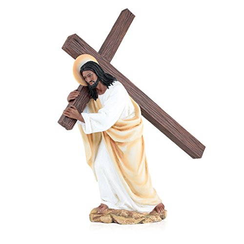 Take Up Your Cross: African American Jesus Figurine, 12.25 inches