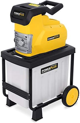 Powerplus Häcksler 2800 Watt + Fangsack 50 Liter - Kompostierer Leisehäcksler